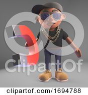 3d Black Hip Hop Rapper In Basketball Cap Holding A Large Magnet 3d Illustration