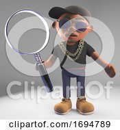 3d Cartoon Black Hip Hop Rapper In Basketball Cap Holding A Large Magnifying Glass 3d Illustration