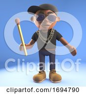 Cartoon 3d Black Hip Hop Rapper In Baseball Cap Holding An Unlit Match 3d Illustration