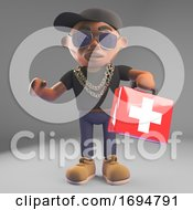 Cartoon 3d Black Hiphop Rapper In Baseball Cap Holding A First Aid Emergency Paramedic Kit 3d Illustration