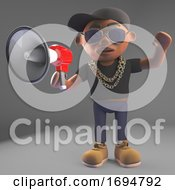 3d Cartoon Black Hiphop Rapper Emcee Character Wearing A Baseball Cap And Using A Loudhailer Bullhorn Megaphone 3d Illustration