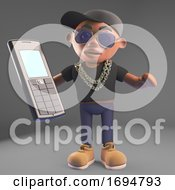 3d Cartoon Black Hip Hop Rapper Emcee In Baseball Cap Holding A Cellphone Mobile Device 3d Illustration