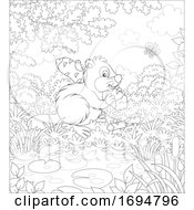 Clipart Of A Beaver Carrying A Log Royalty Free Vector Illustration