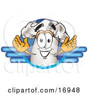 Clipart Picture Of A Chefs Hat Mascot Cartoon Character On A Blue Logo by Toons4Biz