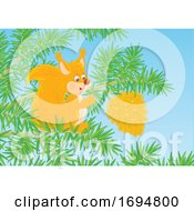 Clipart Of A Squirrel Reaching For A Pine Cone Royalty Free Vector Illustration