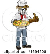 Bulldog Pizza Chef Cartoon Restaurant Mascot