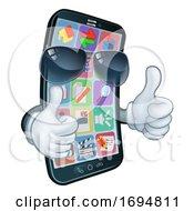 Mobile Phone Cool Shades Thumbs Up Cartoon Mascot