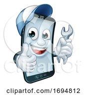Mobile Phone Repair Spanner Thumbs Up Mascot