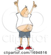 Clipart Of A Chubby Man Holding Up Two Thumbs Royalty Free Vector Illustration