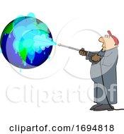 Cartoon Worker Pressure Washing A Globe