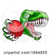 Dinosaur Cricket Player Animal Sports Mascot by AtStockIllustration