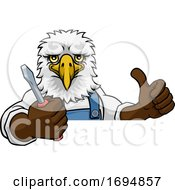 Eagle Electrician Handyman Holding Screwdriver