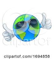 Poster, Art Print Of Earth Globe Sunglasses Shades World Cartoon Mascot