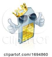 Poster, Art Print Of Sim Card Mobile Phone Thumbs Up Cartoon Mascot
