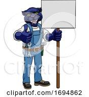 Poster, Art Print Of Panther Construction Cartoon Mascot Handyman