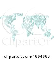 Poster, Art Print Of People Crowd Group World Map