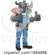 Rhino Plumber Cartoon Mascot Holding Plunger by AtStockIllustration
