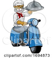 Wildcat Chef Scooter Mascot Cartoon Character