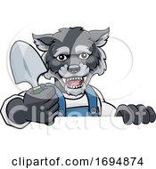 Poster, Art Print Of Wolf Gardener Gardening Animal Mascot