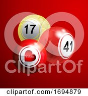 Poster, Art Print Of Valentine Bingo Lottery Balls With Hearts On Red