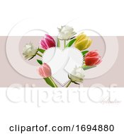 Poster, Art Print Of Valentine Copy Space Heart With Flowers