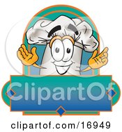 Clipart Picture Of A Chefs Hat Mascot Cartoon Character Over A Blank Label by Toons4Biz