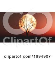 3D Landscape With Old Tree Against A Red Moonlit Sky