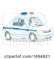 Police Officer Driving A Cruiser by Alex Bannykh