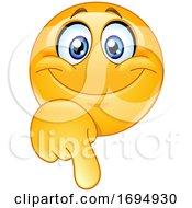 Poster, Art Print Of Cartoon Yellow Emoji Pointing Down
