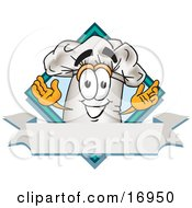 Clipart Picture Of A Chefs Hat Mascot Cartoon Character Over A Blank Banner by Toons4Biz
