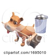 Poster, Art Print Of 3d Puppy Dog Character Sweeping With A Broom Near A Trash Can 3d Illustration