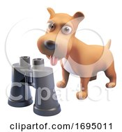 Poster, Art Print Of 3d Cute Puppy Dog Character Standing Near A Pair Of Binoculars 3d Illustration
