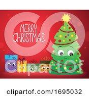 Merry Christmas Greeting And Tree