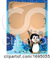 Poster, Art Print Of Christmas Penguin Parchment Border