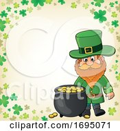 St Patricks Day Leprechaun And Pot Of Gold Border