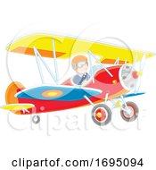 Male Pilot In A Plane