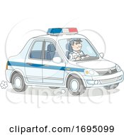 Police Officer Driving A Cruiser