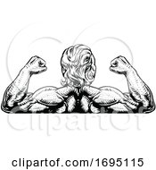 Poster, Art Print Of Back Muscles Bodybuilder Strong Arms Concept
