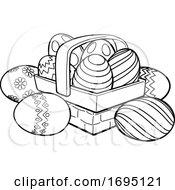 Poster, Art Print Of Easter Eggs Basket Hamper Cartoon