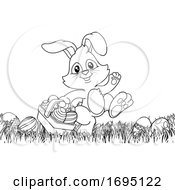 Poster, Art Print Of Easter Bunny Rabbit Eggs Basket Background Cartoon