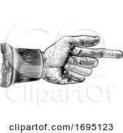 Hand Pointing Direction Finger Engraving Woodcut