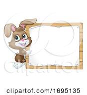 Poster, Art Print Of Easter Bunny Rabbit Sign Background Cartoon