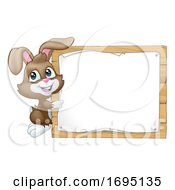 Easter Bunny Rabbit Sign Background Cartoon
