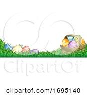 Poster, Art Print Of Easter Eggs Basket Background