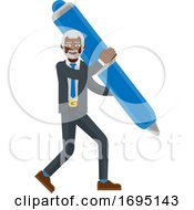 Mature Black Business Man Holding Pen Concept