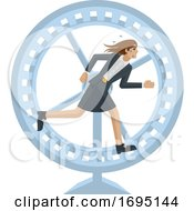 Poster, Art Print Of Business Woman Running Stress Hamster Wheel