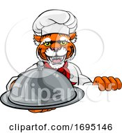 Tiger Chef Mascot Sign Cartoon Character
