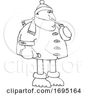 Cartoon Man In Winter Clothes Sipping Water