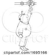 Cartoon Male Worker Turning A Valve