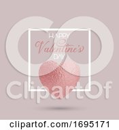 Elegant Valentines Day Background With Rose Gold Heart In White Frame